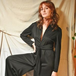 Vintage 70s Low Cut Wide Leg Jumpsuit